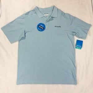 NWT Men's Columbia Half Button Baby Blue T-Shirt